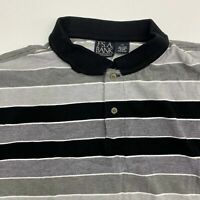 JOS A Bank Polo Shirt Men's Size 2XL Short Sleeve Black Gray Striped 100% Cotton