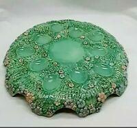 """Deviled Egg Plate Ten Dips Raised 3/4"""" Floral Ceramic Egg Plate Stand 10"""""""
