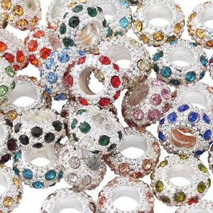 100 Alloy Paved Rhinestone European Beads Large Hole Silver Loose Charms 11mm