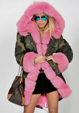Roiii Women Ladies Winter Warm Coat Hooded Pink Faux Fur Parka Camouflage Jacket