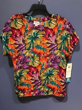 Womens Size 12 Vintage Top, Leslie Fay, NWT, Polyester, Bright Floral