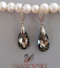 925 silver Crystal earrings Drop Earrings Genuine Swarovski element Silver night