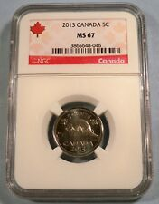2013 CANADA 5c NGC MS 67 NICKEL FIVE CENT COIN MS 67