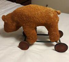 Antique Straw Stuffed Bear On Wheels