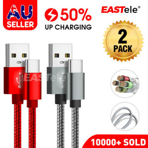 2x Fast Charging USB Type C Cable For Samsung S9 S10 S20 S21 Ultra Note20 HUAWEI