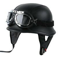 DOT Motorcycle German Style Black Leather Half Helmet w/Pilot Goggles New M/L/XL