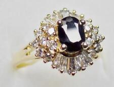 EXQUISITE ESTATE 18k GOLD BLUE SAPPHIRE BAGUETTE DIAMOND BALLERINA COCKTAIL RING