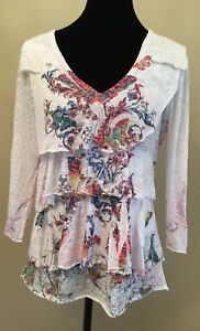 BOHO CHIC Womens Blouse Size Medium White Burnout Art-To-Wear Tiered Long Sleeve