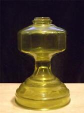 EAPG Green Amber Depression Glass Floral Oil Lamp 12 Panels
