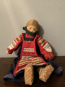 Antique Handmade Russian Collectors Doll In Christmas Garment