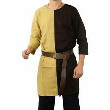LARP Medieval Viscose Tunic Shirt Viking Reenactment Fancy Dress Black and Camel
