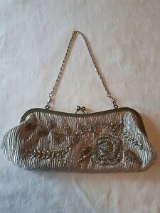 Silver Beaded, Satin Evening Bag