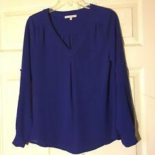 41Hawthorn Women's Blue Semi Sheer Tabbed Long Sleeve Popover Blouse- Size XS