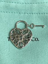 Tiffany & Co. 925 Sterling Silver Filigree Heart Key Charm Pendant