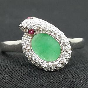 World Class 1.20ct Emerald, Ruby & Diamond Cut White Sapphire 925 Ring Size 8.75
