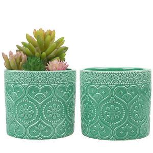 MyGift Set of 2 Aqua Green Ceramic 4 Inch Floral Embossed Succulent Planter Pots