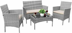 4 Piece Outdoor Patio Furniture Sets - Small Wicker Patio Rattan Chair Set with