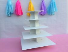 5 tiers cupcake stand square made from mdf wood stackable handpaint