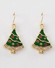 Christmas Tree pierced earrings Rhinestone enamel red green Xmas New gold tone
