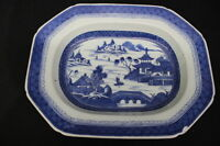 "LARGE Antique 19th Century Chinese Export CANTON Blue 13.5"" Oval Serving Bowl (4"