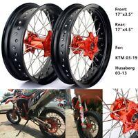 "17"" Supermoto Front Rear Wheels Hubs Rims for KTM SX EXC XC SXS 125-540 03-19"