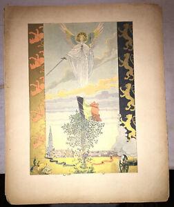 JOB. PLANCHE EN COULEURS pour CHANTS NATIONAUX BELGE ET MONTÉNÉGRIN.1901.