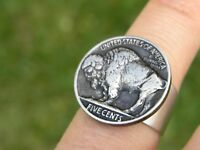 Buffalo Indian Nickel coin cool  ring adjustable nice gift for Buffalo Bills fan