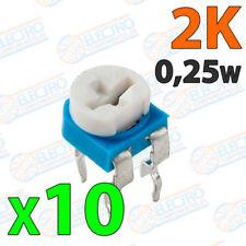 10x Potenciometro 2K ohm 1/4w 0,25w horizontal resistencia variable PCB