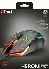 NEW TRUST 21813 HERON GXT170 RGB GAMING MOUSE, ADVANCED OPTICAL SENSOR