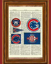 Chicago Cubs Dictionary Art Print Poster Baseball Collectible Gift Logo MLB