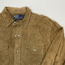 MINT Men's VNTG Polo Ralph Lauren (M) Brown Suede Pearl Snap Front Western Shirt