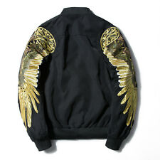 Men's Embroidered gold wings Air Force jacket Coat  baseball shirt outwear male
