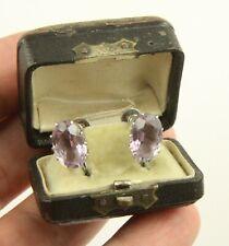 Antique Boxed Art Deco c 1920 sterling silver amethyst earrings