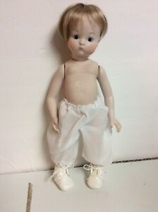 Artist made all bisque antique reproduction blonde doll 12' tall