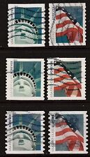 Scott #4486-91 Used Set of 6, Lady Liberty & American Flag Stamps