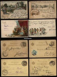 1897-99 HUNGARY four PICTORIAL Coloured Postal Stationery Cards, one to USA