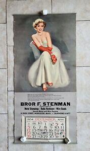 1954 Stenman Radio Hardware Metal Goods Worcester MA Pinup Girl Calendar Sign