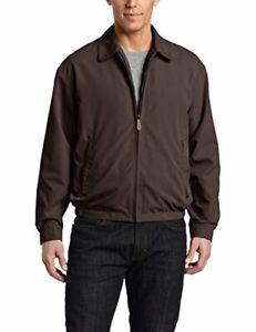 Men's Auburn Zip-Front Golf Jacket w/ Zipper Pockets 5X-Large Tall Dark Brown