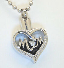"Mom Heart Cremation Urn Necklace with Clear CZ ""O"" 
