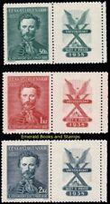 EBS Czechoslovakia 1938 Sokol Games - Michel 395-397 MNH** Pairs Tab Right