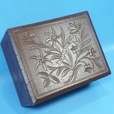 """11"""" Antique Swiss Black Forest Wood Carved BOX Edelweiss Interlaken Brienz c1920"""