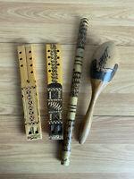 Traditional Wooden instruments 2 x Dvojnice Double Flutes 1 x Maraca 1 x Flute