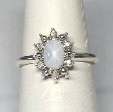 Vintage NOS 1970 Silver Linde White Star Sapphire/Genuine Diamond Ladies Ring