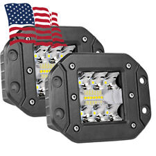 "2pc 130W CREE Flood LED Cube Pods Work 5"" Lights Flush Mount Offroad Truck White"