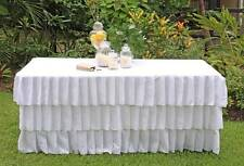 White Table Cloths Pleated 3 Tier 6 Foot Length Trestle Table Cover