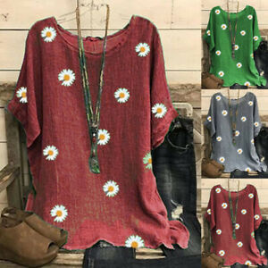 UK Womens Tee Holiday Shirt Loose Blouse Oversized Ladies Casual Floral Tops