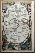 WORLD HEMISPHERES, California island, Geography Richard Blome antique map 1678