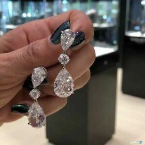 Elegant Woman 925 Silver White Sapphire Earring Stud Hoop Drop Wedding Jewelry