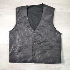 Mens Vintage Black LEATHER WAISTCOAT Vest Biker Motorcycle Cowboy Medium #A3640
