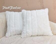 "Pair 20"" x 30"" Pillow Covers White Channel Mink Furs Fur Both Side w/Zipper"